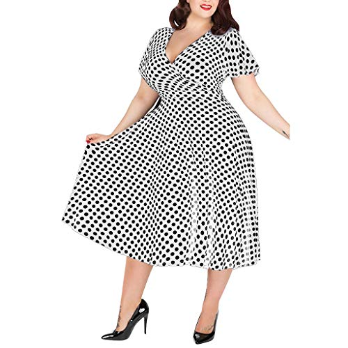 - Corriee Dresses for Women Plus Size V-Neck Short Sleeve Polka Dot Printed Belted Dress Party Wedding Dress White