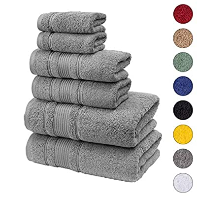 Qute Home Spa & Hotel Towels 6 Piece Towel Set, 2 Bath Towels, 2 Hand Towels, and 2 Washcloths - Grey -  - bathroom-linens, bathroom, bath-towels - 51 gACucXJL. SS400  -