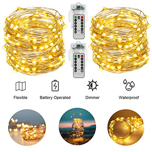 AllezDuck Fairy Lights, 66Ft 200LED Battery Operated Sliver Wire String Lights Waterproof 8 Modes LED Lighting String with Remote Control for Christmas Wedding Party Home Decoration, Warm White