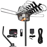 HDTV Antenna Amplified Digital Outdoor Antenna 150 Miles Range-360 Degree Rotation Wireless Infrared Remote,Support 2 TVs-UHF/VHF/1080P/4K with 33ft RG6 Cable and Mounting Pole Included