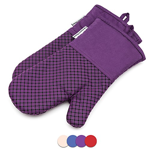 Silicone Oven Mitts Plaid Heat Resistant Cooking Gloves Non-Slip