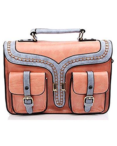UonBox Women's British Vintage PU Leather Patchwork Satchel Shoulder Hand Bag (Pink)