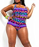 American Trends Women's Plus Size High Waist Fringe Bikini Retro Swimwear Swimsuit Triangle US Size 12-14(Size XL)