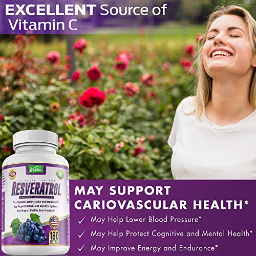 51 gBNOnE3L - 100% Pure Resveratrol 1000mg Per Serving Max Strength 180 Capsules Antioxidant Supplement Extract Natural Trans-Resveratrol Pills for Heart Health and Weight Loss Made in USA