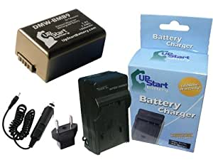 Panasonic Lumix DMC-FZ47 Battery and Charger with Car Plug and EU Adapter - Replacement for Panasonic DMW-BMB9 Digital Camera Batteries and Chargers (1000mAh, 7.4V, Lithium-Ion)