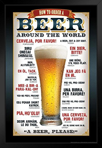 How to Order A Beer Around The World Languages Black Wood Framed Art Poster 14x20