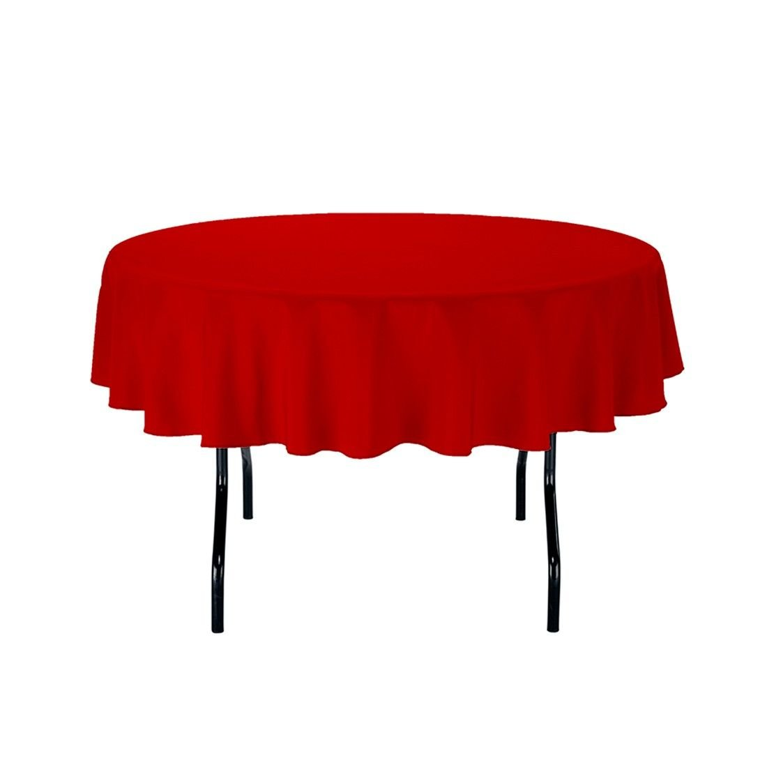 "Gee Di Moda Tablecloth - 70"" Inch Round Tablecloths for Circular Table Cover in Red Washable Polyester - Great for Buffet Table, Parties, Holiday Dinner & More"