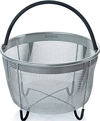 Hatrigo Instant Pot Steamer Basket Accessories, Fits InstaPot IP Pressure Cooker – Stainless Steel Strainer Insert with Full Silicone Handle and Non-Slip Legs – Great for Vegetables, Eggs, Ribs