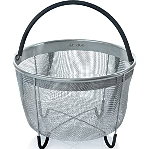 Hatrigo Instant Pot Accessories 8 quart Steamer Basket [3qt 6qt available], Fits InstaPot Pressure Cooker, Insta Pot Ultra Egg Basket w/Silicone Handle and Non-Slip Legs (Instant Pot 8 Quart)