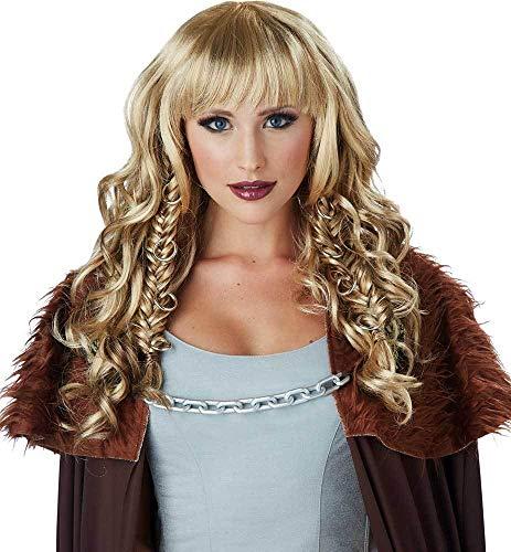 (Greek Roman Warrior Queen Fighter Wavy Braided Hair Wig Accessory Adult Women)