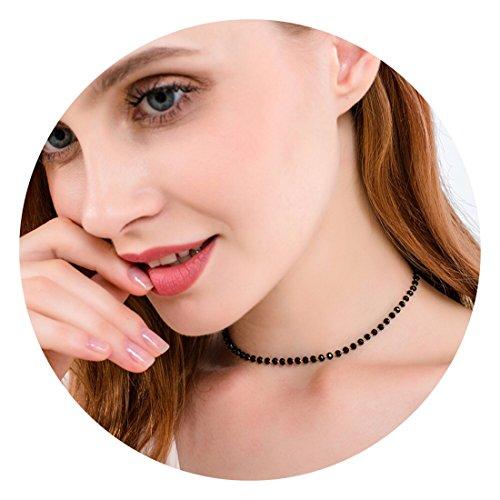 Fettero Dainty Black Bead Choker Necklace,Crystal Beaded Necklaces for Women (NK6-1-BK)