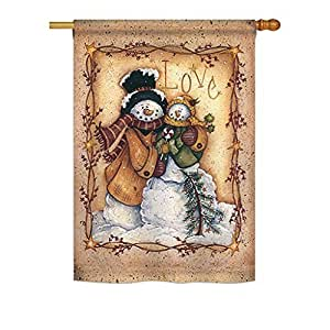 Christmas Love Snowman - Winter Christmas Decoration - Impressions Flag by Ornament Collection Designed by Yerkes