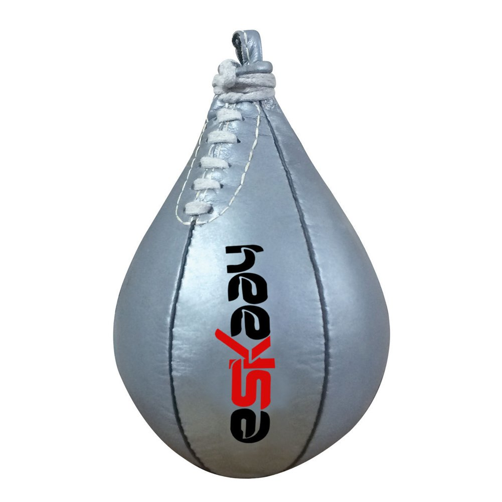 Eskaay Leather Workout Speed Bag Punching Bag Speedball Punch Kick Bag Silver by Eskaay