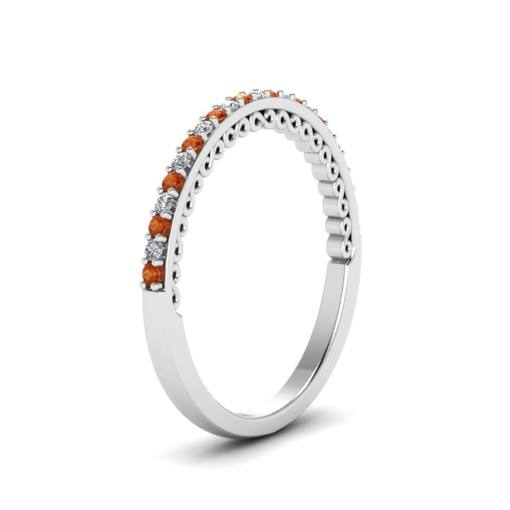 SVC-JEWELS Half Eternity Citrine /& White Simulated Diamond 14K White Gold Plated .925 Sterling Silver Thin Engagement Wedding Band Ring