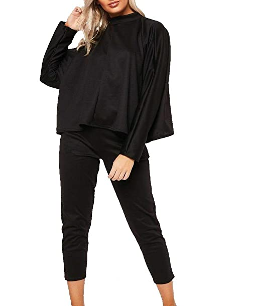 Womens Ladies Side Stripe Top /& Bottom Co ord Set Loungewear Fashion Tracksuit