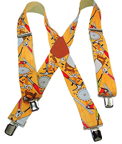 (Holdup Brand Tradesmen Series Suspenders in Carpenter Pattern with Jumbo No-slip Clips)