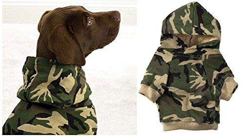 Green Camo Dog Hoodies 100% Cotton Kangaroo Pocket Dogs Sweatshirt by Defonia Petsupplies
