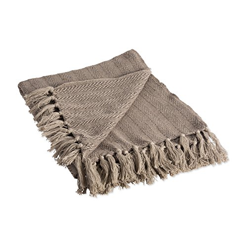 DII Rustic Farmhouse Cotton Textured Blanket Throw with Fringe For Chair, Couch, Picnic, Camping, Beach, & Everyday Use , 50 x 60 - Tonal Textured Stone