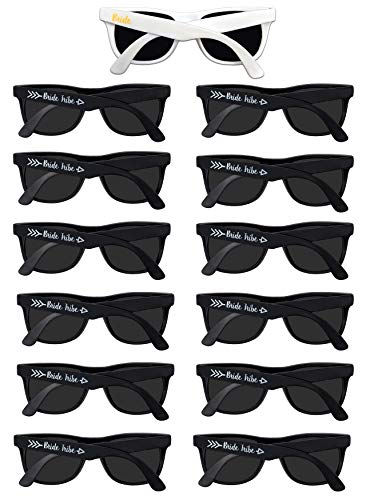 Bachelorette Party Sunglasses Black - 12 Pack Bride Tribe & Bridesmaid Wedding Glasses Bulk -