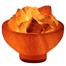 Crystal Allies Gallery CA SLSFB-S Natural Himalayan Salt Fire Bowl Lamp with Rough Salt Chunks & Dimmable Switch, 6\