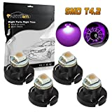 honda clock bulb - Partsam 4pcs Purple T4 T4.2 Neo Wedge LED Bulbs Car Truck Auto HVAC A/C Climate Heater Controls Radio Shack Clock Replacement Light Bulb 12V 1-3528-SMD 10mm Base