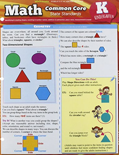 Math Common Core For Kindergarten