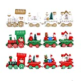 Christmas Decoration Gifts, Kimkoala 3Sets Small Wood Train For Christmas DIY Home Decoration Accessories Ornaments Supplies Xmas New Year Decor Decorative Stitching Wooden Toy Kids Gifts