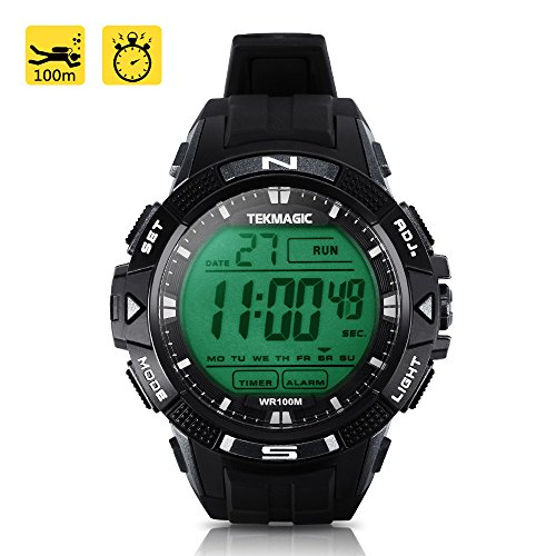 TEKMAGIC 10ATM Waterproof Sport Watch for Swimming Diving with Stopwatch, 12/24 Hour Format, Dual Time Zone, Alarm Functions by TEKMAGIC