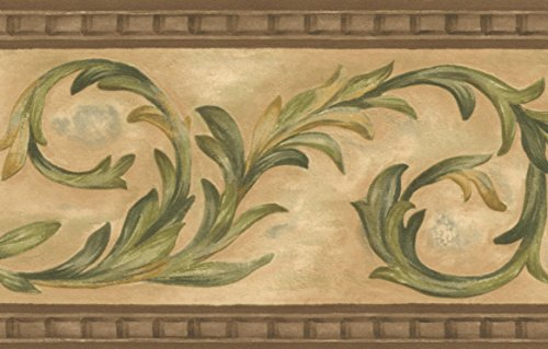 Green Floral Vine Wallpaper - Green Vines Beige Damask Wallpaper Border Retro Design, Roll 15' x 5''