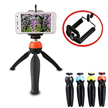 Kupx high grade hit color Universal Tripod Mini 360 Rotatable Stand Tripod Mount and Cell Phone Clip Clamp Holder for iphone6 plus samsung orange