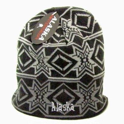 Diamond Knit Hat (Alaska Beanie Hat Skull Black Diamond Snowflake Knit Stocking Hat)