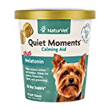 NaturVet – Quiet Moments Calming Aid for Dogs - Plus Melatonin | Helps Reduce Stress & Promote Relaxation | Great for Storms, Fireworks, Separation, Travel & Grooming (70 Soft Chews)