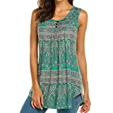 Keliay Womens Tops for Summer,Womens Sleeveless Print Round Neck Blouse Shirt Casual Flare Tunic Tank Top