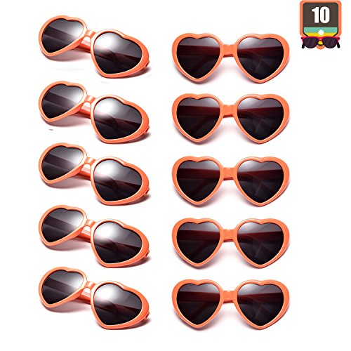 10 Packs Neon Colors Wholesale Heart Sunglasses
