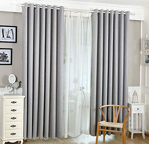 YJBear Cotton Linen Solid Color Thermal Insulated Blackout Curtains Grommet Top Curtain Panel Draperies Window Treatment Set for Living Room/Bedroom Gray 55