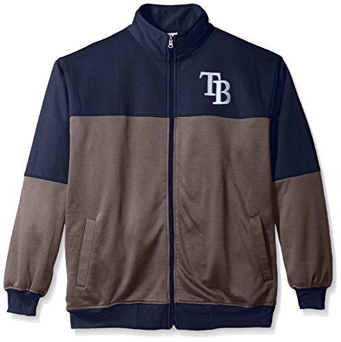 MLB Tampa Bay Rays Men's Poly Fleece Yoked Track Jacket with Wordmark Logo, 3X/Tall, Navy/Gray (Tampa Jacket Bay)