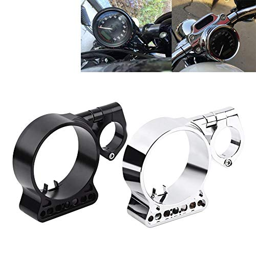 (Speedometer Relocation Bracket, CNC Aluminium Side Mount Gauge & Meter Repacking Holder for For Harley Sportster XL883 X1200(Black))