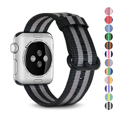 Pantheon Woven Nylon Replacement Band for the Apple Watch by, Women's or Men's, Strap fits the 38mm or 42mm for Apple iWatch 1, 2, 3 and Nike edition Womens Platinum Series