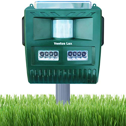 Solar Ultrasonic Animal Repeller, Outdoor Waterproof Pest Repeller, Motion Activated LED Lights Repel Animal Pests, Cats and Dogs Squirrels, Raccoons, Foxes, Mouse, Skunks, Rabbit, etc. - In Ja Sonic