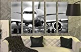 Large Set Airplane Wall Art Decor Picture / Jet Aircraft Turbine Decoration on Canvas / Aviation Gift for Pilot / Plane Wall Print Poster 35 by 55 inches