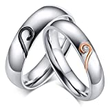 ROWAG 5MM Stainless Steel Mens Promise Heart Shape Couple Wedding Rings 4MM Womens Cubic Zirconia CZ for Him and Her Engagement Bands