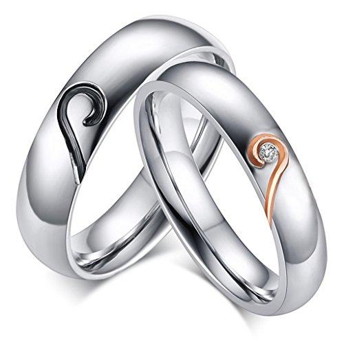 ROWAG 5MM Stainless Steel Mens Promise Heart Shape - Heart Shape Wedding Ring Set