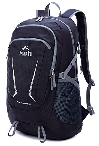 Venture Pal Large 45L Hiking Backpack - Packable Lightweight Travel Backpack Daypack for Women Men (Black)