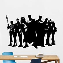"Superhero Wall Decal 34""wide x 22""tall Marvel DC Comics Superhero Vinyl Sticker Superman Batman Wonder Woman Flash Superhero Wall Art Design Kids Room Bedroom Decor Removable Wall Mural 111zzz"
