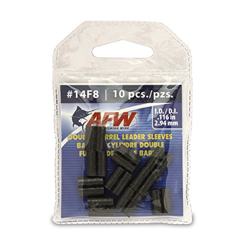 (American Fishing Wire Double Barrel Crimp Sleeves, Black Color, Size 4F8, 0.044 -Inch Inside Diameter, 100-Pieces)