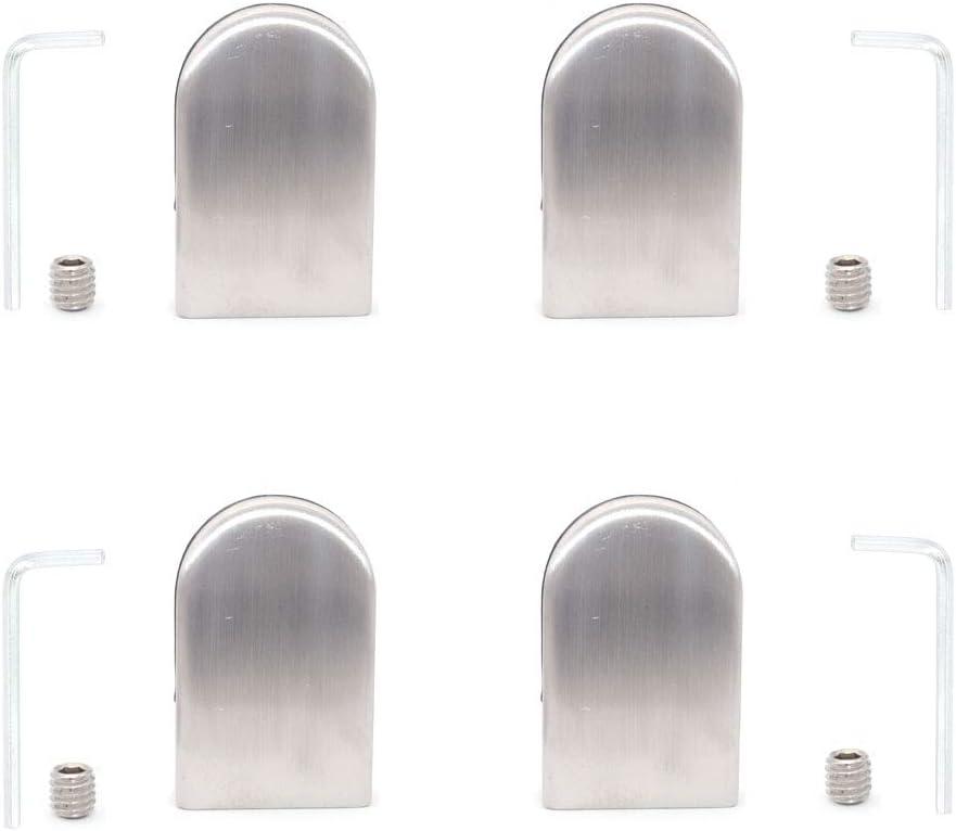 devant carr/é finition satin/ée Jeu de 4 pinces /à verre NUZAMAS adapt/ées aux panneaux de verre de 8 /à 10 mm acier inoxydable 304 cl/ôture de piscine dos plat