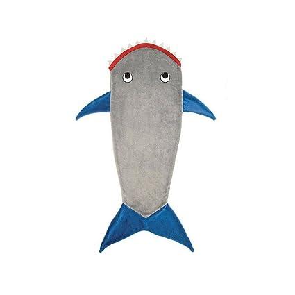 Manta HMILYDYK con diseño de cola de sirena o tiburón; saco de dormir o disfraz
