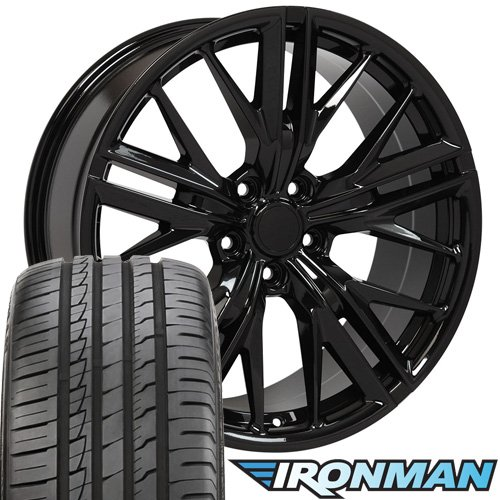 20x8.5 Wheels, Tires and TPMS Fit Chevy Camaro - Camaro ZL1 Style Black Rims w/Tires - Non-Staggered SET