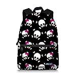 JBS-NO.1 Canvas Backpack Casual School Bag Multi-color Skull Daypack Laptop Bag for Girls Boys Women (1, Black Skull)