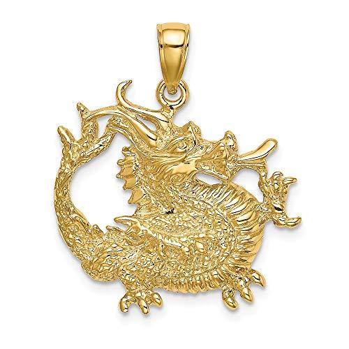 14k Yellow Gold 2-D & Textured Dragon Charm